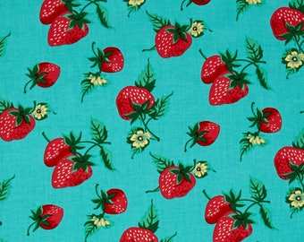 Verna Mosquera, Strawberry Patch in Aqua , Quilting Cotton Fabric Canada/ half yard