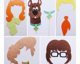 Scooby Doo Photo Booth Props ; Scooby Doo Birthday Party Decorations ; Boy Birthday Party ; Mystery Machine ; Birthday Photo Props