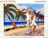 20% OFF SALE Salsa en la Playa PRINT or Canvas Salsa Art. Salsa dancers on the Beach Art. Beach House Decor