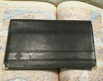 Vintage leather navy passport cover