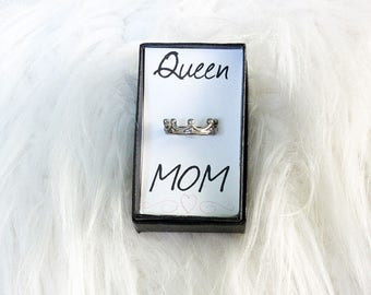 Mother's Day Queen Mom Fun Crown Ring-Boxed with Love for Gift Giving