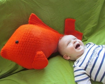 Goldfish Pillow or Large Toy PDF Crochet Pattern INSTANT DOWNLOAD