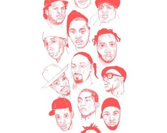 Hip hop illustration - Kendrick Lamar - full set - nas - Biggie - j dilla - hip hop art
