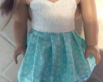 American girl doll sized anchor skirt
