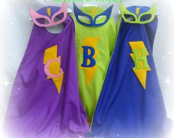 Personalised lightening bolt superhero cape and mask set blue purple green