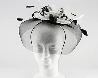 Occasion hats for Women, Wide Brim Fascinator for weddings or the Races, with bows shape centre and light feathers.Richmond Fascinator-Black