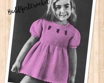 Vintage 1960's Afghan Stitch Crochet Toddler Dress,Girls Vintage Crochet Dress 2-4yrs,Girls Tunisian Crochet Dress,Tunisian Crochet Pattern