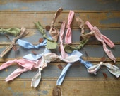 Spring Garland, Button and Bow Garland,  Rustic Garland,  Rusty Buttons, Primitive Garland, Prim Tree Garland, Primitive  Decor