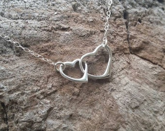 Double Heart Necklace, Sterling Silver, Small Heart Necklace, Silver Heart Necklace