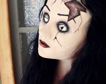Cracked Broken Doll Halloween Mask
