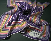 Vintage 1970s Lanvin Silk Scarf - Navy Blue w/ Spots And Stripes - Vintage Scarves