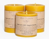 Organic Beeswax Pillar Candles Set of 3