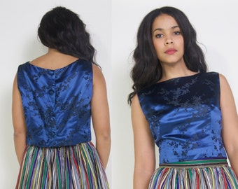 Vintage 90s Blue Black Cherry Blossom Floral Jacquard Brocade Asian Crop Tank Shell Top