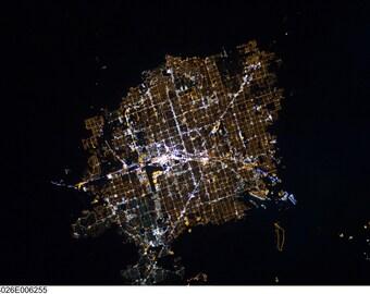Satellite Image of Las Vegas, Nevada- Night via NASA Satellite