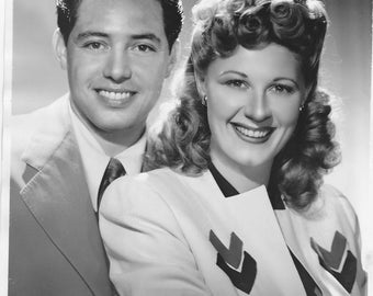 Press Photo Reproduction, 1945, CBS Radio Show, Andy Russell and Joan Davis