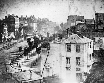 "Louis Daguerre: ""Boulevard du Temple"" (1838 or 1839), Old Photo Print 1800's"