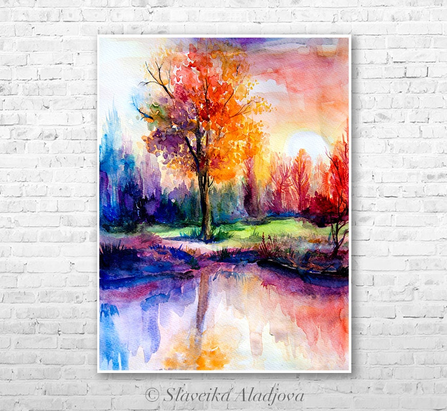 Sunset Landscape Watercolor Painting Print By Slaveika Aladjova Illustration Contemporary Nature Art Original