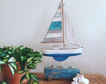 Rustic Sail Boat home decor, beach, nautical decor, reclaimed wood art , sculpture, pallet wood