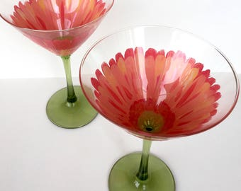Coral Gerber Daisy Martini Glass Set of 2, hand-painted glasses