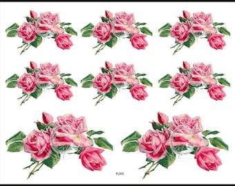 Vintage Shabby Victorian Pink Roses Waterslide Decals~ FL310