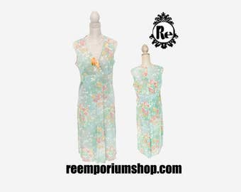 Vintage Dress 1970's Mint Green Dress Pink Orange White Blue Floral Pattern Empire Waist Sleeveless Nylon V-Neck with Peach Artificia No. 25