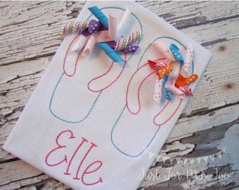 Personalized Girl's Flip Flop Shirt or Bodysuit- Vintage Stitch Flip Flops- Vintage Flip Flops Embroidery- Flip Flop Applique FREE MONOGRAM