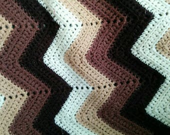 Vintage Brown and Cream Zig Zag Chevron Afghan - Neutral Blanket - Soft Afghan - Brown Blanket