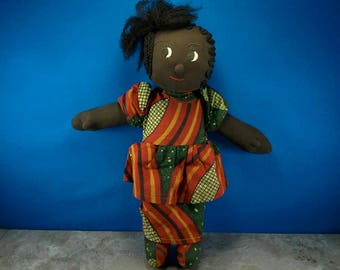 Handmade African American Girl or Black Girl Doll Wearing Dress