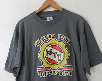 LARGE (Vintage XLARGE) 1980 Miller Time University (Sticker Graphic) NOS New Old Stock T-Shirt