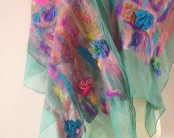 Turquoise green silk nuno felt scarf