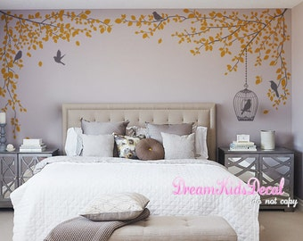 Tree branch vine wall decal wall art, wall decal bedroom, children wall decals, name decal -Grey tree branch with birdcage decor-DK246