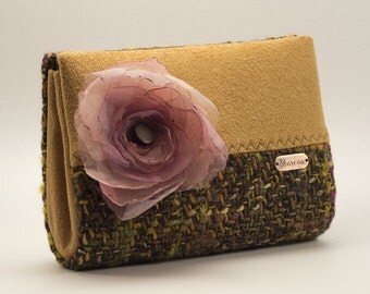 Mini clutch bag with pink organza flower, handbag in autumn colors, handmade purse, ochre, brown, one of a kind