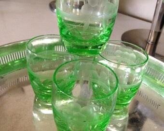 Reserved for Lorraine Green Glass Uranium/Vaseline Glass Set of Four (4) Shot Glasses from 1940s