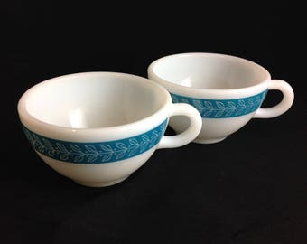 Vintage Pyrex Corning Turquoise Diner Cup Set of 2 White Milk Glass Old School Coffee Mug Heavy and Durable Retro Diner Mug