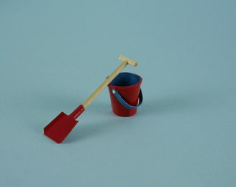 Red Beach Bucket and Spade, Sand Pail and Shovel - 1:12 or 1/12 Scale Dollhouse Miniature for Beach, Garden, Toy Store or Shop, Vacation