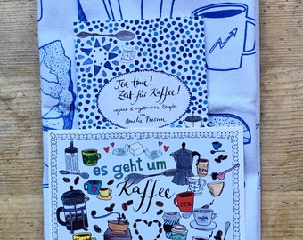 """Coffeetime package: gift set feat. Recipe booklet """"teatime! Time for coffee!""""with matching kitchen towel and map"""