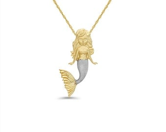 """14k solid gold two tone mermaid pendant on 18"""" gold chain."""