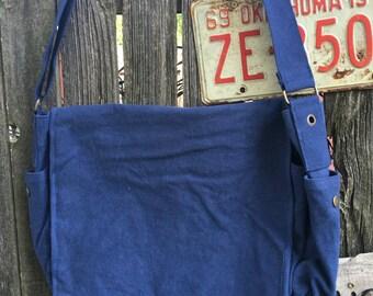 Canvas Laptop Messenger Bag, Navy, Cross Body,Shoulder Bag,iPad Bag,Carry All, Large Tote Bag, Laptop Bag, School Bag,Travel Bag, tote bag