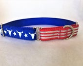 "Long Horns, Stars & Stripes 1"" Martingale Dog Collar"