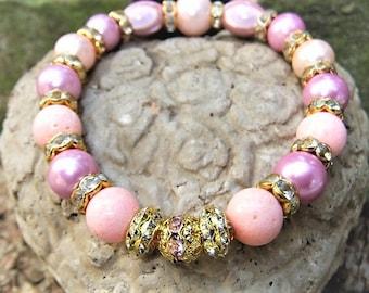 Pink Stretch Bracelet rhinestone bracelet lilac