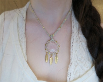 Rose Quartz Dreamcatcher Pendant Macrame Necklace