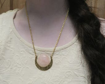 Rose Quartz and Golden Moon Necklace