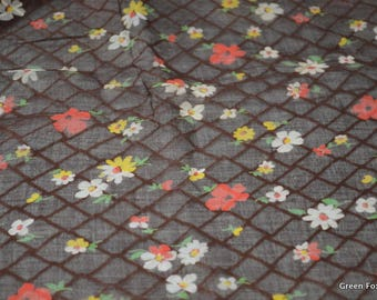 Vintage Sheer Brown Fabric with a Floral and Lattice Print