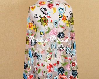 Multi-color Schiffli Lace - Multi-color Tulle Embroider Lace -  Embroidered Tulle Lace Fabric  -Multi-color Floral Embroidered Lace -L210