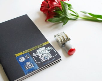 Beautiful Journal /Sketchbook  with Illustration Vintage Blue Camera II