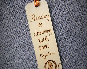 Pyrography reading is dreaming bookmark