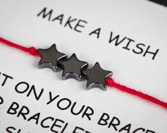 Hematite Gemstone Star Wish Charm Bracelet