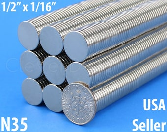 "25 Pk - 1/2"" x 1/16"" Neodymium Magnets - N35 - Super Strong Rare Earth Disc Magnets - Fridge Scientific Mags - 13mm x 1.5mm - .5 Inch"