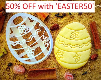 Easter egg with flowers cookie cutter