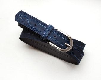 Dark blue leather belt, Navy blue belt with threads stitching, ALL SIZES